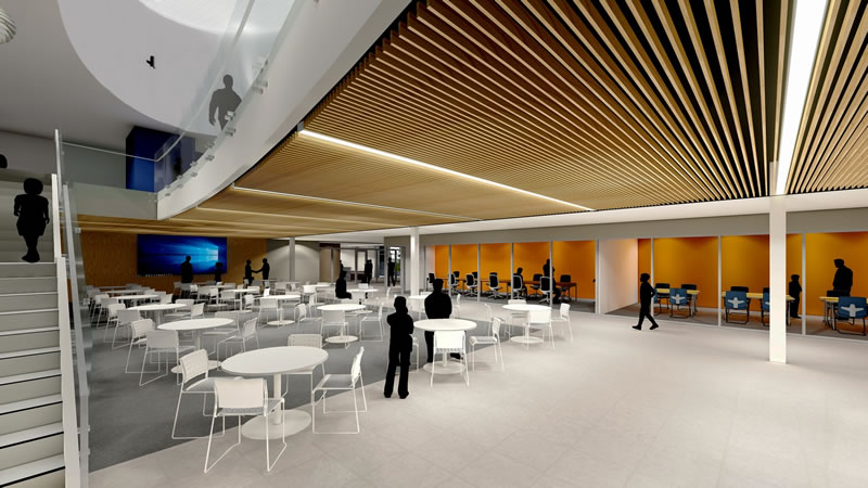 artistic rendering - Interior view of new commons area. Notice the large, open area for students as well as study and group rooms along the side. Stairs lead to second floor library.