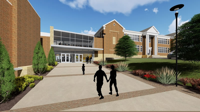 artistic rendering - Exterior of new commons space between middle and high school. Notice maximized safety vestibule.