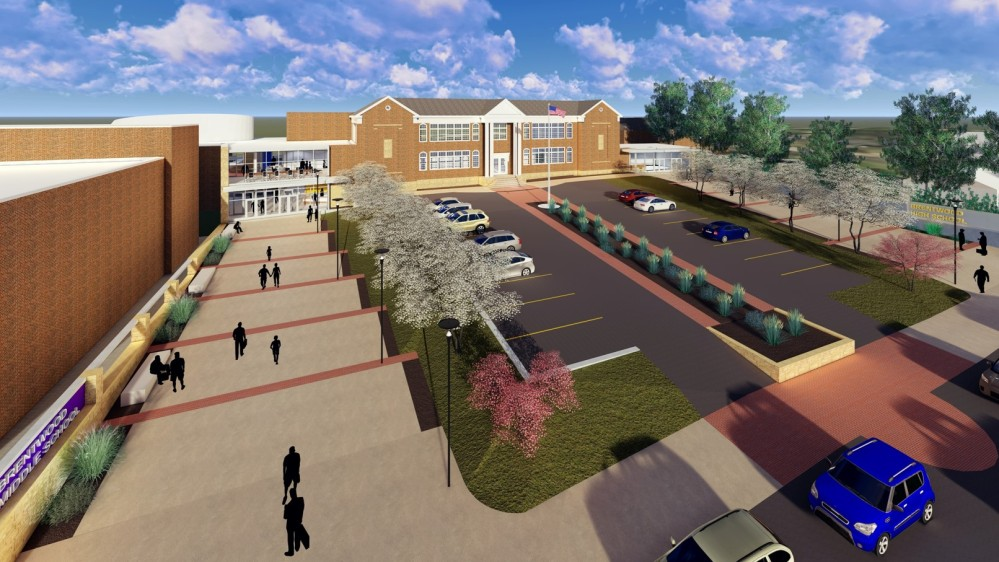 artistic rendering - Aerial exterior view of the middle/high school campus. Notice the revised parking area, maximized green space, and walkway leading to the new commons area.