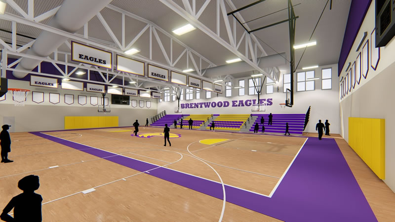 Artistic rendering - New gym space with updated bleachers, flooring, paint, and ceiling.