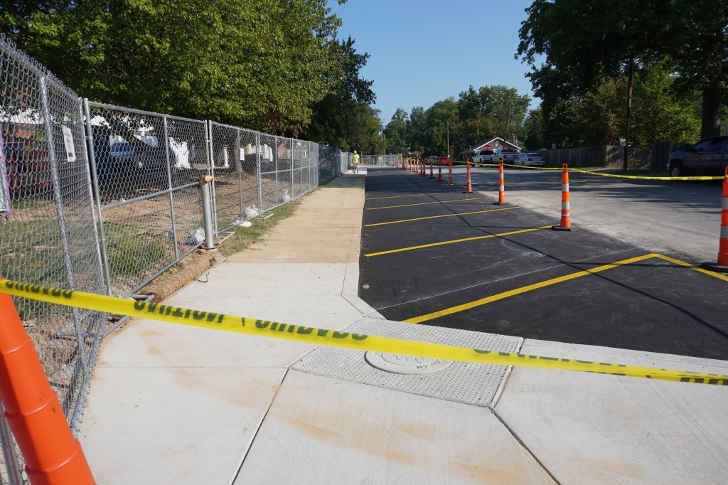 additional parking spaces being prepared along High School Drive.
