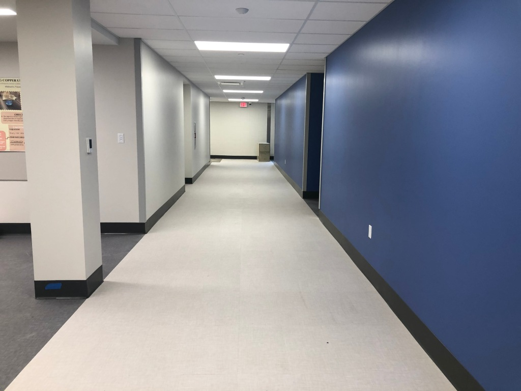 Finished hallway in new science lab wing (formerly the library).